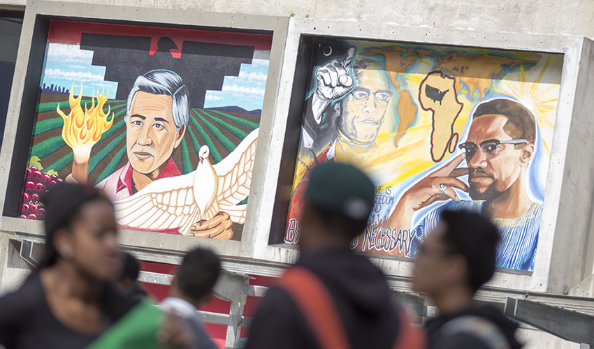 mural depicts Cesar Chavez and Malcolm X