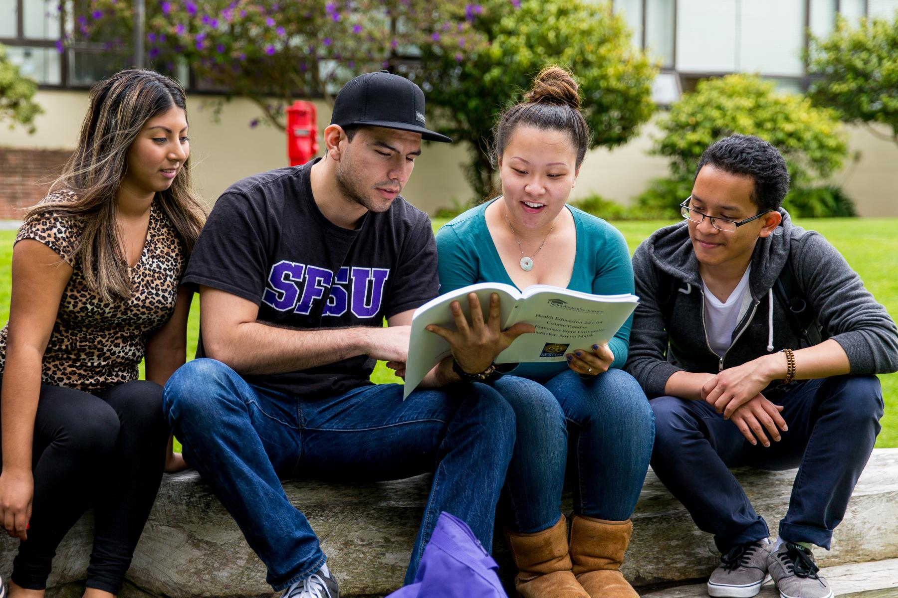 four students studying outdoors