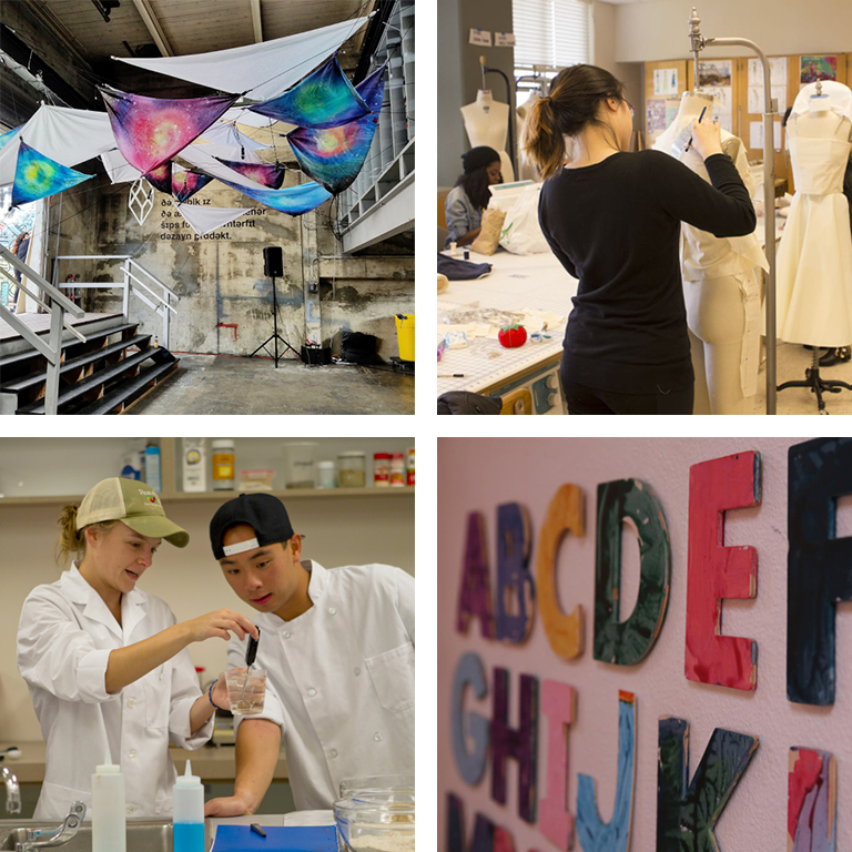 A student interior design installation; an apparel student working on a garment; a colorful alphabet; nutrition students performing tests