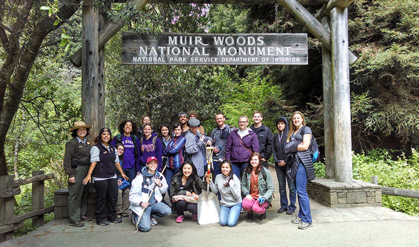 Students get ready to do work in Muir Woods