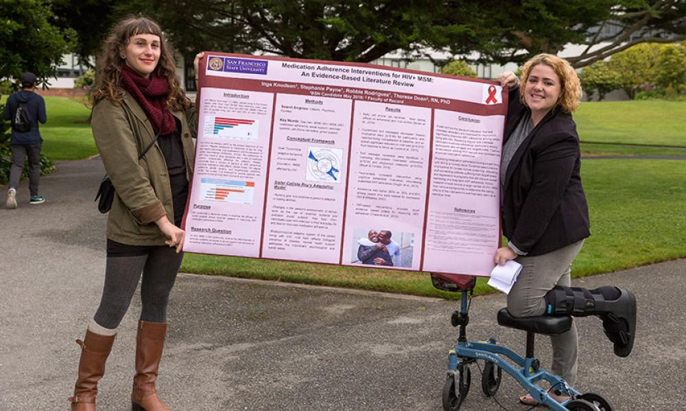 Inga Knudson and Stephanie Payne with research poster