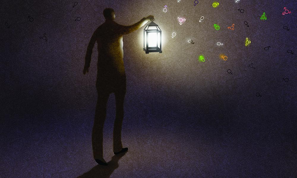 illustration of man with lantern shining on gender symbols