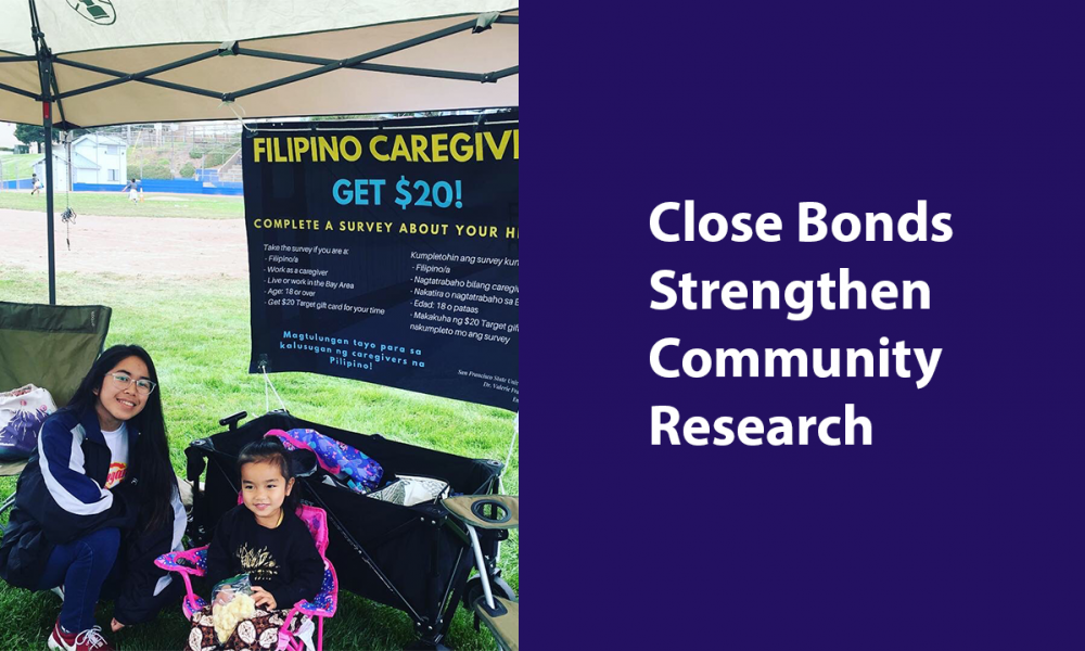 Kristal Osorio and Aya Francisco-Menchavez table to collect surveys at Kasayahan Filipino American History Month celebration in Daly City in 2019.