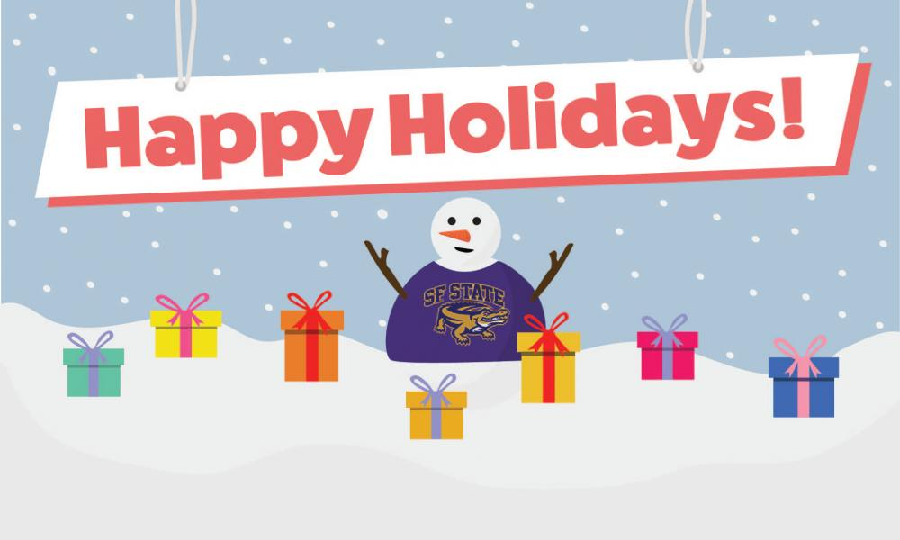 Snowman in Gator shirt surrounded by presents