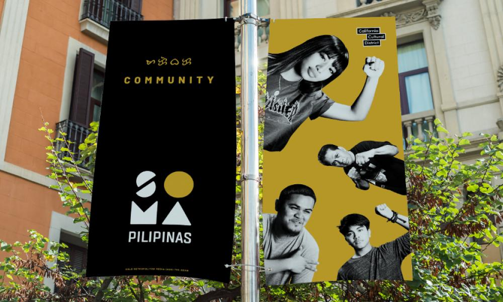 A pole banner representing the SOMA Pilipinas Filipino Cultural Heritage District